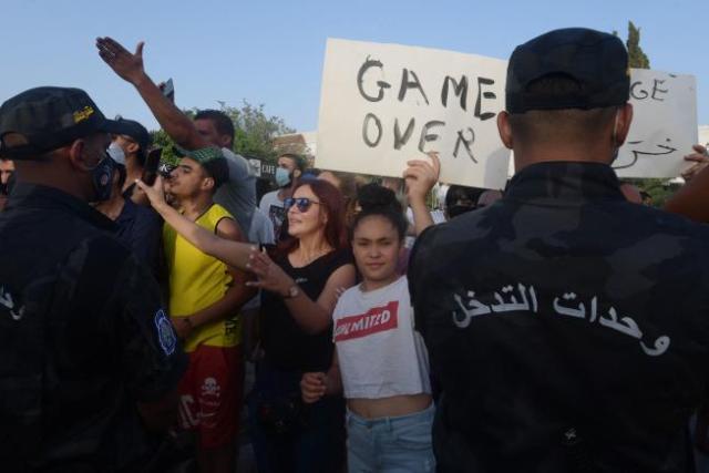 Manifestation en faveur du président tunisien Kaïs Saïed, le 26 juillet, à Tunis.