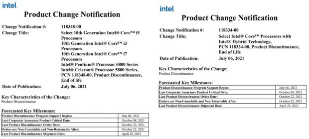 Product Change Notification - Processeur Intel Lakefield