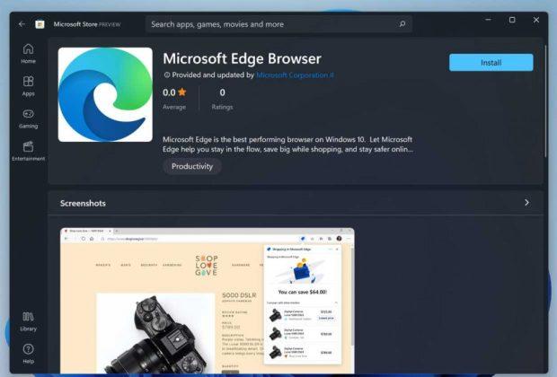 Windows 11, Microsoft Edge est disponible sur le Microsoft Store
