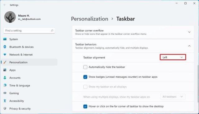 Taskbar settings move Start menu