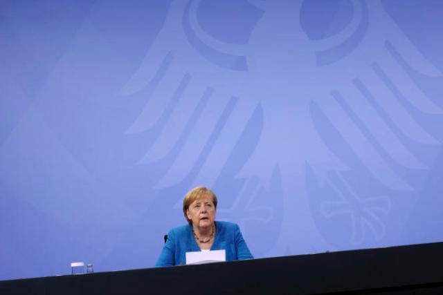 La chancelière allemande Angela Merkel lors d'une conférence de presse sur les mesures anti-coronavirus, le 10 août 2021, à Berlin.