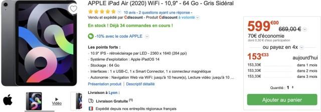 iPad Air 4 CDiscount promo
