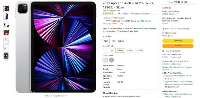 2021 Apple iPad Pro 11 pouces Offre Amazon