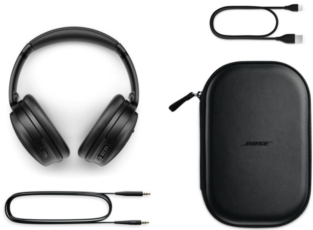 The Bose QC45 retail package will include a USB A-to-C charging cable, audio cable and carrying case