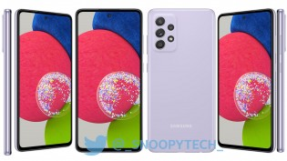 Samsung Galaxy A52s 5G in Awesome White and Awesome Purple