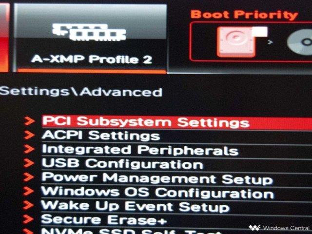 Click PCI Subsystem Settings
