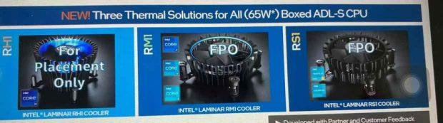 Ventirads Laminar RS1, RM1 et RH1 d'Intel