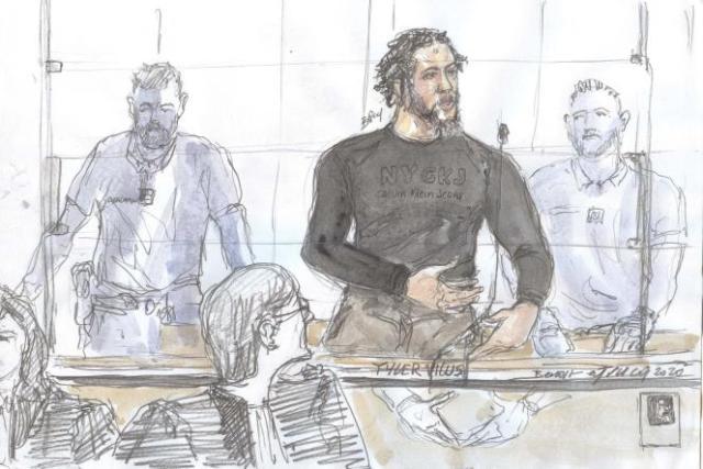 Croquis d'audience réalisé le 25 juin 2020, lors de l'ouverture du procès de Tyler Vilus, devant la cour d'assises spéciale de Paris.