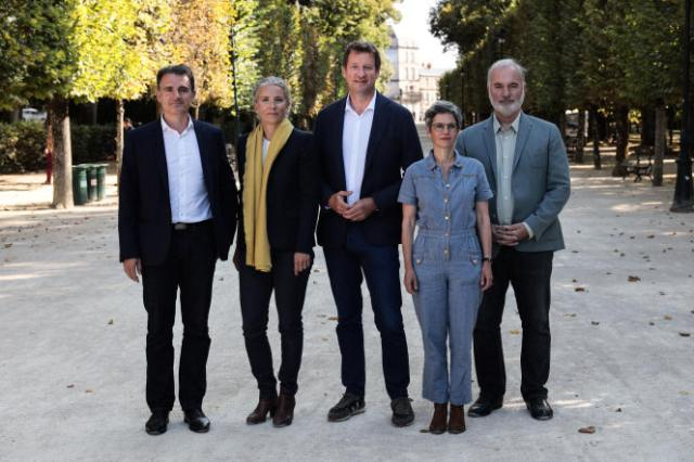 Eric Piolle, Delphine Batho, Yannick Jadot, Sandrine Rousseau et Jean-Marc Governatori, à Poitiers, le 20 août 2021.