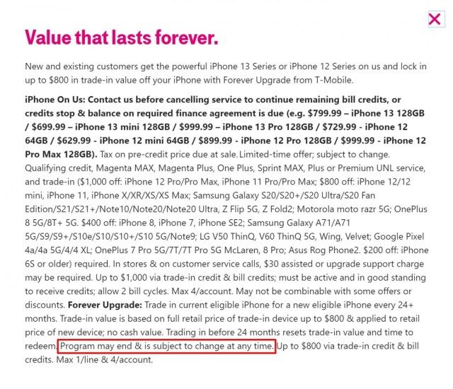 T-Mobile's new 'Forever Upgrade' program for the iPhone 13 isn't really forever