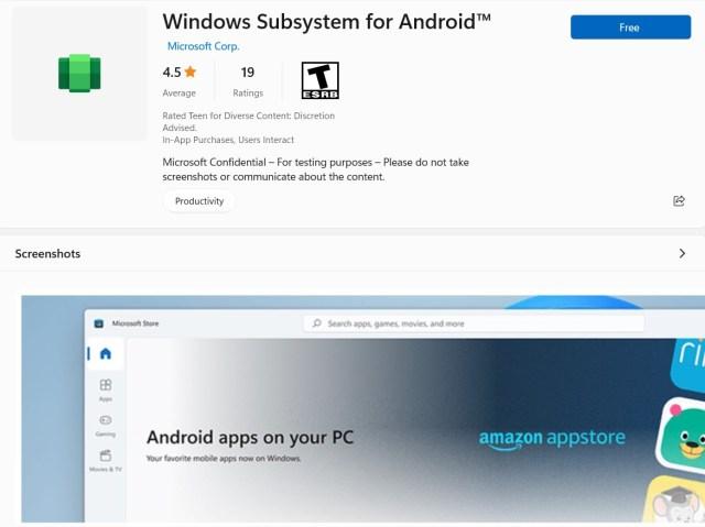 Windows11: Une application relative au sous-système Android apparaît dans le Microsoft Store