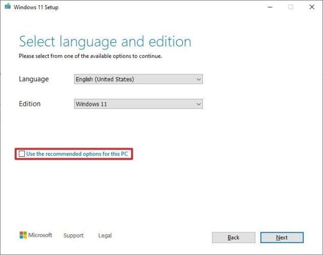 Media Creation Tool language settings
