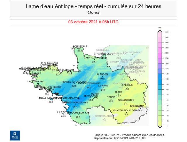 Carte du cumul sur vingt-quatre heures des précipitations tombées sur le quart nord-ouest de la France le 3 octobre à 6heures.