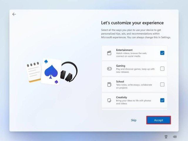 Customize experience