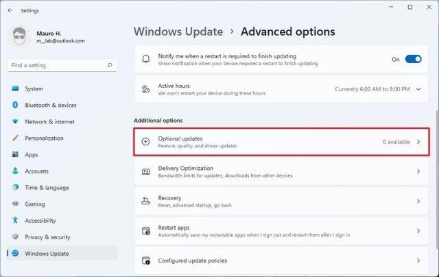 Windows 11 Optional updates