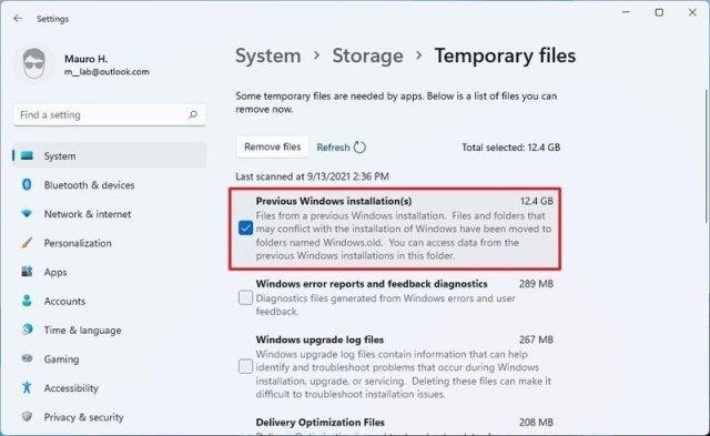 Previous Windows installation files