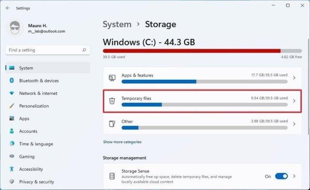 Temporary files setting
