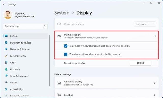 Multiple displays settings