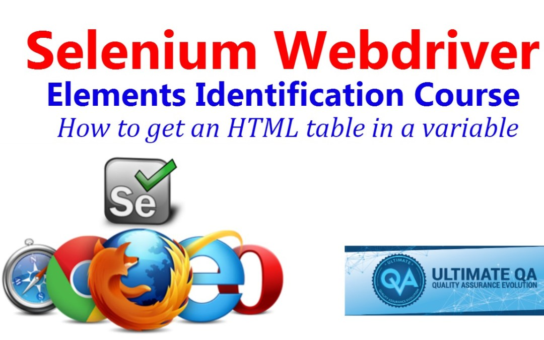 Selenium Tutorial – Element Identification – How To Get An HTML Table In A Variable
