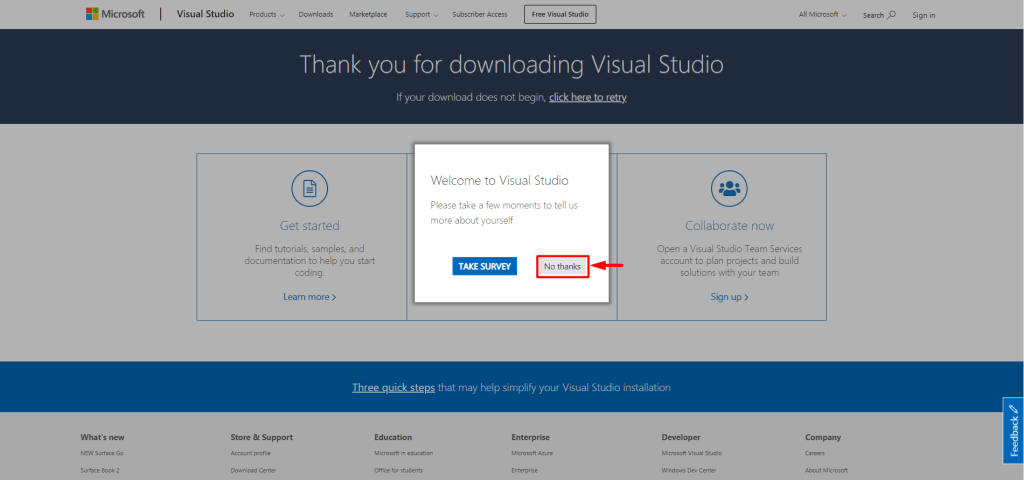 screenshot showing how to download Visual Studio community edition