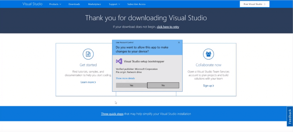 install visual studio screenshot