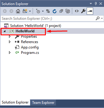 visual studio hello world inside solution explorer