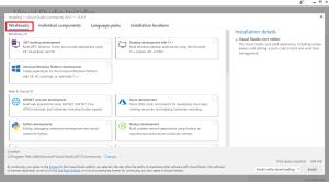 installing workloads Visual Studio 2017