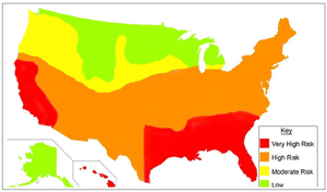 Termite Infestation Probability Map USA