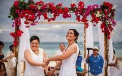 Newly married couple on beach | Same-sex Mayan Beach Wedding | Juan Euan Photography