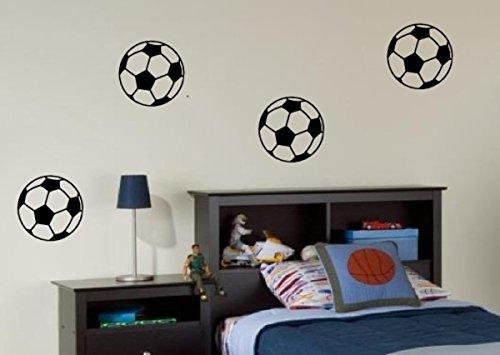 PRO CUT GRAPHICS  Adesivi da parete motivo palloni da calcio per camera letto soggiorno confezione da 4