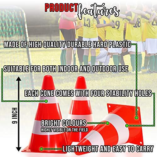 12 Coni da Allenamento Coni di Segnalazione 23cm  Arancioni e Bianchi Ideale per Bambini Giochi Addestramento di Sport Calcio Pallavolo Ostacoli Addestramento di Cani