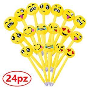 24pz Penne Emoji Penna a Sfera Bambini Divertenti Carine Colorati per Gadget Regalo Compleanno Bomboniere Battesimo Comunione Natale Scuola