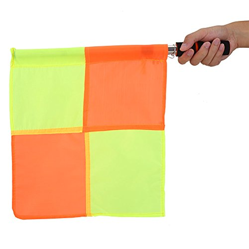 2pcs Bandiera Linesman Impermeabile Bandiera Calcio Arbitro con Borsa di Stoccaggio di Rugby Hockey Training Accessory