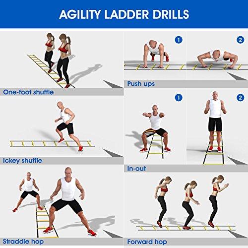 6M Scala Agilit Scaletta per Allenamento Calcio Esercizio velocit Fitness 12 Piolo con Custodia Portatile Regolabile