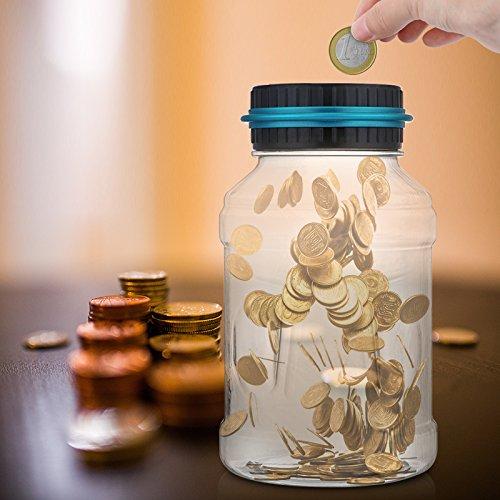 AOZBZ Digitale Salvadanaio Euro Counter Automatico Coin Counting Soldi Scatola per i Bambini e Adulti Sicuro Moneta Risparmio Contanti con Display LCD e Grande capacit18L
