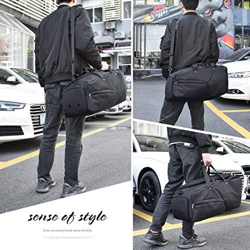 Borsone Palestra Uomo Borsa Sportiva Grande con Scomparto Scarpe Duffel Bag Borsone da Viaggio Impermeable Borsoni per Donna 45L Nero