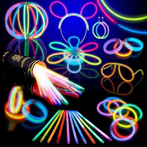 Hotlite Pacco di Barre Luminose per Party Totale 216 pezzi  100 x 20 cm braccialetti kit per creare collane occhiali braccialetti tripli una fascia orecchini fiori una palla luminosa e altro