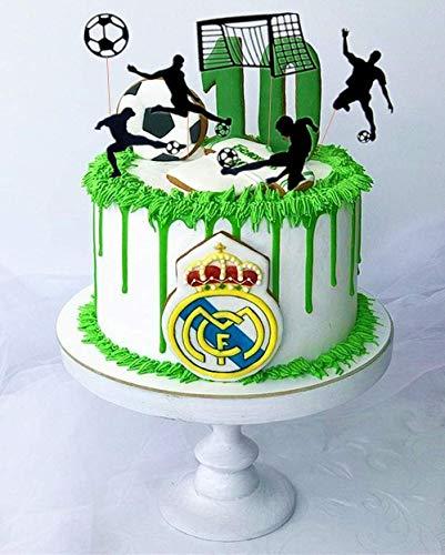 JeVenis  Set di 24 topper per cupcake a forma di pallone da calcio decorazioni per torte sportive e feste di calcio