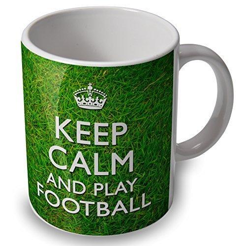 Keep Calm e Giocare Calcio  Boccale Coppa  erboso sfondo