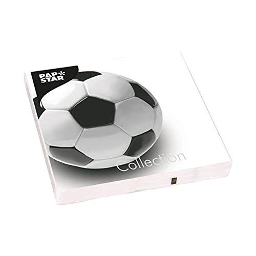 Konzept23 Set da Calcio 60 Pezzi Soccer Calcio 20 Piatti di Carta 20 Bicchieri di Carta 20 tovaglioli Bianco e Nero