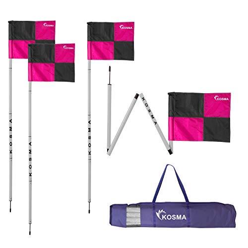 Kosma Set di 4 bandierine angolari pieghevoli  Football Training Angolare Pieghevole Dimensioni asta 5 m x 25 mm  Palo bianco con bandierine rosa  nero  in borsa per il trasporto