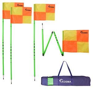 Kosma Set di 4 bandierine angolari pieghevoli  Palo pieghevole per allenamento di calcio  Dimensioni 5 m x 25 mm  Flourecent Green Pole con punta in metallo e bandiere quadrantegialloarancio