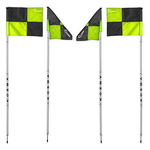 Kosma  Set di 4 bandierine angolari pieghevoli per allenamento di calcio dimensioni 5 m x 25 mm con punta in metallo e bandiere quadranti colore verdenero in borsa per il trasporto