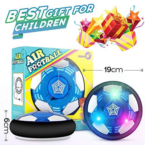 lenbest Hover Ball Calcio da Interno Ricaricabile Air Hover Calcio Sportivo per Bambini con paracolpi in Schiuma e potenti luci a LED per Bambini Regali di Natale Compleanno Bonus Fischietto