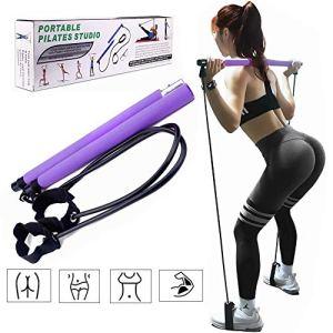 Pilates Bar Kit Portatile Barra per Pilates Fitness Stick Barra per Esercizi con Fascia di Resistenza per i Piedi Attrezzatura per Casa Palestra Fitness Allenamento AllenamentoViola