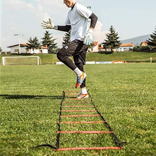 POWER GUIDANCE Scala Agilit Scaletta Per Allenamento Calcio Esercizio Velocit Fitness 6M con 12 Plastica Piolos Picchetti di Terra Borsa per il Trasporto e 10 Coni Sportivi rosso