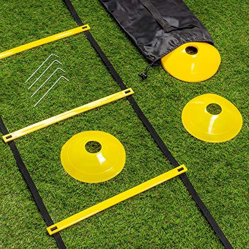 Set di Scala Agilit Scaletta 6M 12 Pioli 10 Coni  4 Picchetti di Terra Alta Qualit e Resistente Allenamento Calcio Sport Fitness Velocit per Adulti Bambini con Borsa per Trasporto