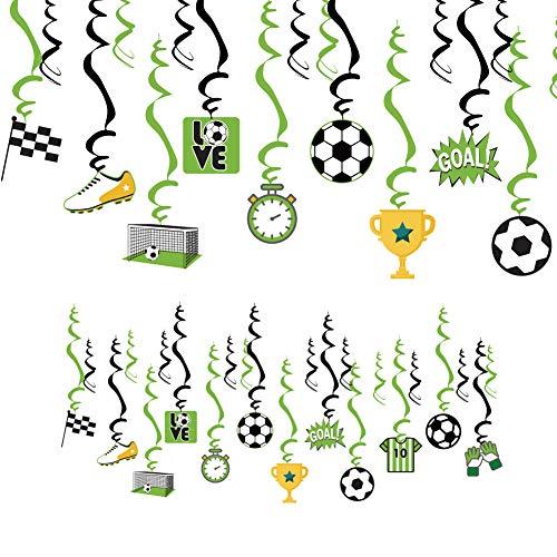 SUNBEAUTY Forniture da Tavola per Feste da Calcio Festa di Compleanno Banner Happy Birthday 16 Bicchieri di Carta 16 Piatti 20 Cannucce 24 Torta Toppers 24 Spirali Decorazioni per Feste di Calcio