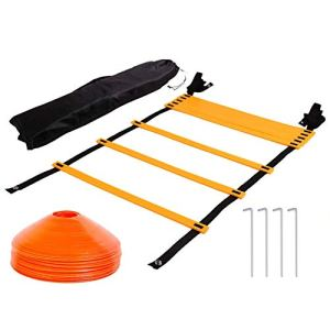 Tebery Agility Ladder Speed Ladder 7M 13Rung con 10 Coni e 4 Stakes con Carry Bag