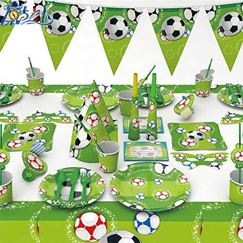 WENTS Forniture per Feste di Calcio 41 Pezzi Set per Feste di Calcio per 6 Ospiti Compreso Piatti Tazze Tovaglioli Coltelli Forchette Tovaglia per Feste di Compleanno per Bambini